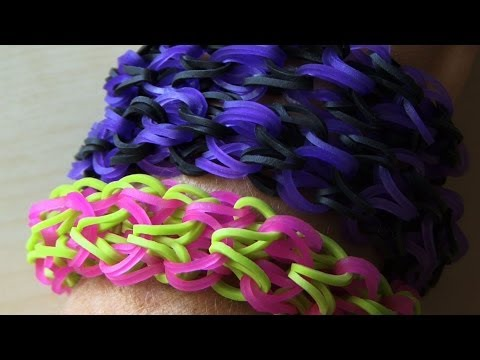 RAINBOW LOOM MONSTER TAIL PUFFY CUFF *ORIGINAL BRACELET - How to make