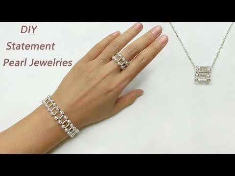 DIY Beading Statement Pearl Jewelries / How to Make Pearl and Silver Bracelet, Ring and Pendant