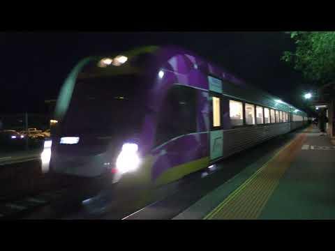 V/Line trains at Little River (ft Metro Trains X'trapolis transfers)