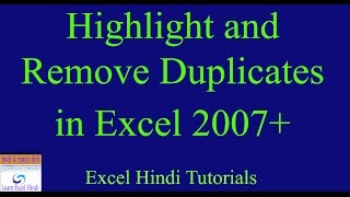 Learn Excel Hindi How To Highlight And Remove Duplicates In Excel In