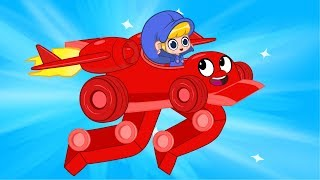 Morphle the Super Racecar + Vehicle Adventures (Monstertruck, Policecar, Logging Machine) for Kids!