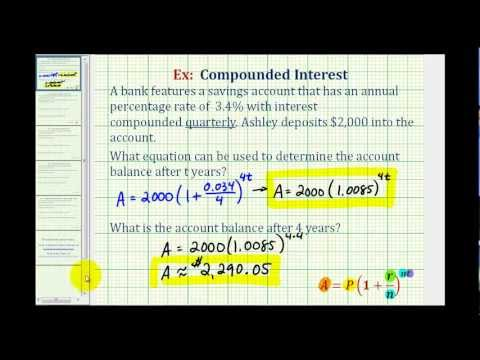 Ex 1:  Compounded Interest Formula - Quarterly