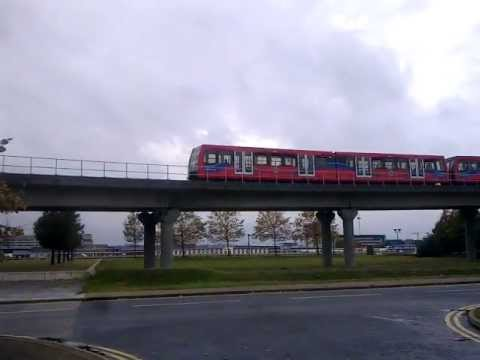 DLR Train passing near to London City Airport