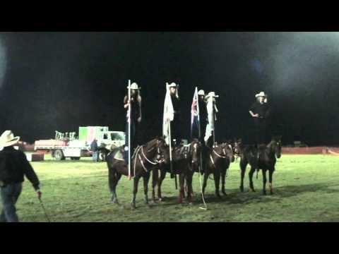 Flag Drill Girls standing on Horses and whip cracking.m2ts