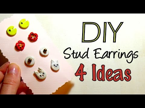 DIY Air Drying Clay Stud Earrings-Cute Christmas Gift Idea 2015 | by Fluffy Hedgehog