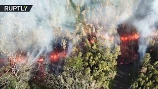 Mesmerising lava flow from Kilauea volcano in Hawaii (drone footage)