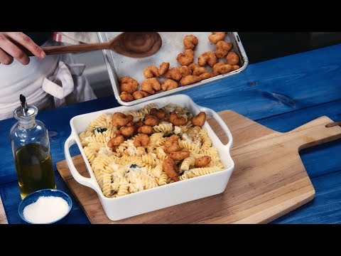 How to make SeaPak's Parmesan Pasta, Popcorn Shrimp & Spinach Bake