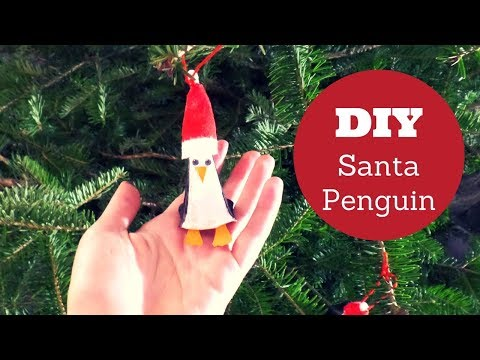 DIY Santa Penguin Ornament from an Egg Carton  | Easy Christmas Craft for Kids | Animal Crafts