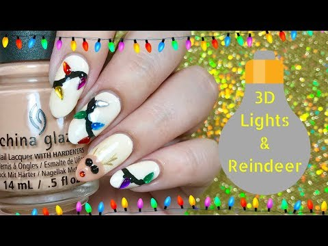 💡 3D Christmas Lights/ Reindeer Nails | Day 7 of my 12 days of Christmas! 💡