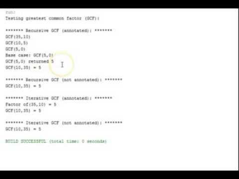 Java Recursion Greatest Common Factor (GCF)