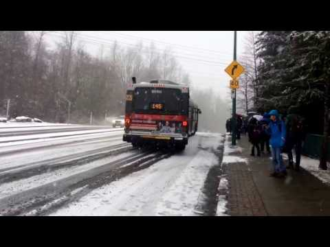 Bus 145 to sfu stuck in snow Feb 3 2017