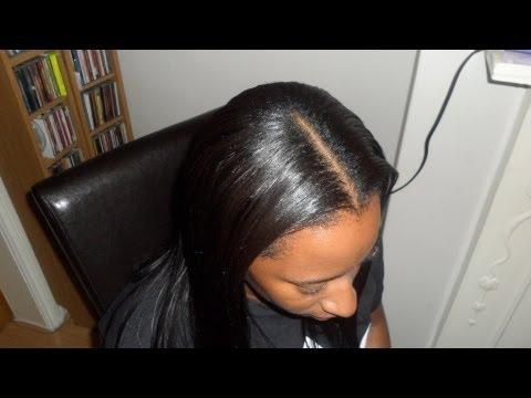 Middle Part Sew In Weave Tutorial (and braid pattern)...Diva Straight & Kim K Kurlz
