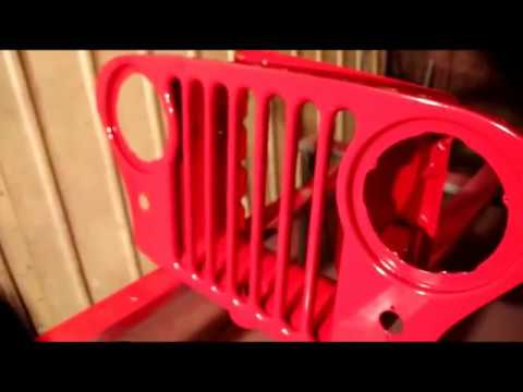 Willys CJ5 Snowblower Jeep, Painting Grill RED!