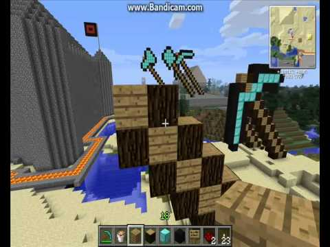 Minecraft tutorial how to make a Pickaxe statue.