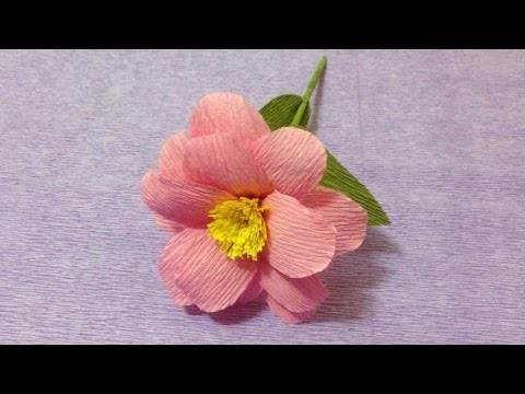 How to Make Pink Crepe Paper flowers - Flower Making of Crepe Paper - Paper Flower Tutorial