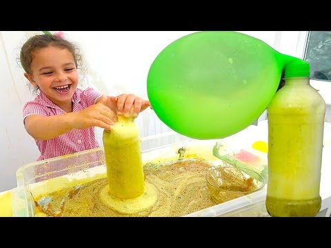 DIY Glitter Volcano Vinegar and Baking Soda Experiment with Balloon