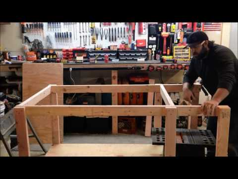 How to build your own mobile workbench with built in table saw and vise.