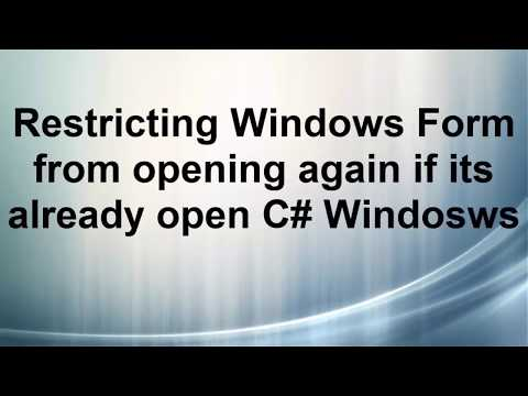 Restricting Windows Form from opening again if its already open