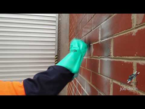 Graffiti removal on brick wall by Kleenit Group