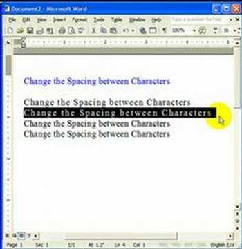 How to change the spacing between characters