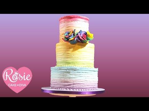 How to make a BUTTERCREAM RAINBOW RUFFLE CAKE