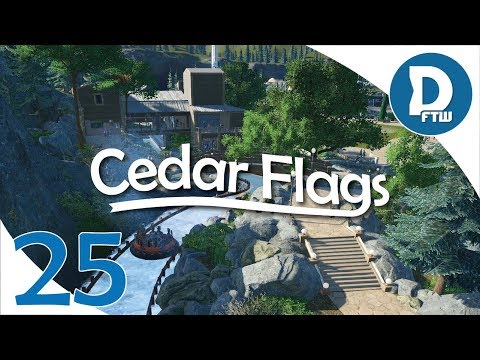 Let's Design Cedar Flags Ep. 25 - Landscaping and Path Work Near Alpine River Rush - Planet Coaster