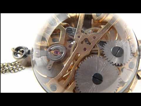 Steampunk Glass Globe Necklace Watch