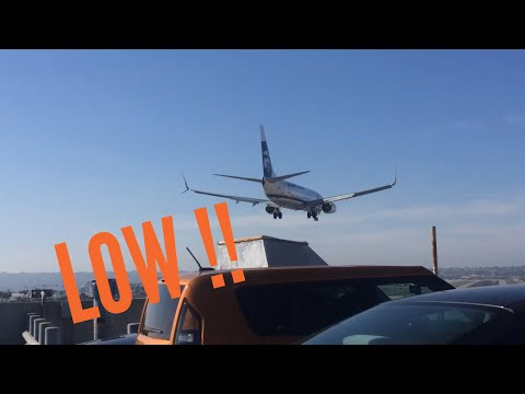 LOW ALASKA AIRLINES 737 Landing At San Diego Airport