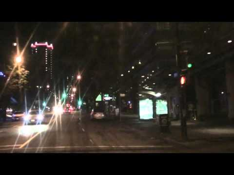 Driving Downtown Vancouver BC Canada,At night Robson St