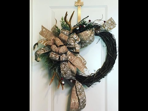 How to make a Christmas Grapevine wreath with Reindeer Ribbon and Antlers