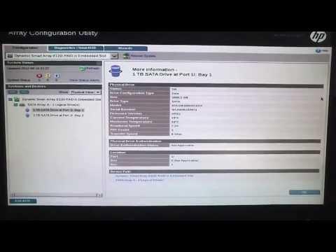 HP Array Configuration Utility (ACU) - How to setup RAID1 on ML310e Gen8 Server