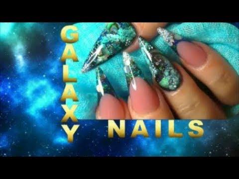 GALAXY, PLANETS AND PAUA SHELL BLACK HOLE ~ ACRYLIC NAILS | ABSOLUTE NAILS