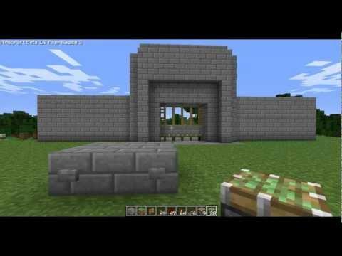 Minecraft Tutorial: Redstone Castle Gate with Pistons (Hidden Wiring)