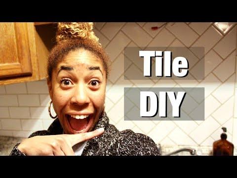 Subway Tile Backsplash DIY Reveal   Kitchen Renovation   Delise Germond