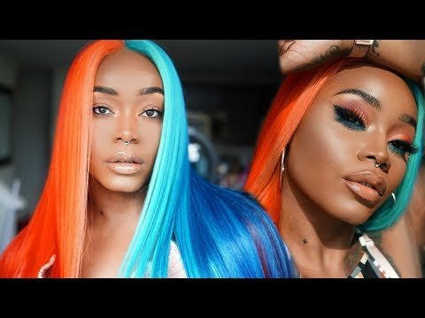 Hair n' Makeup | Fire 🔥 and Ice ❄️ Split Dye | Orange and Blue Makeup Look on WOC | Fairyystylish