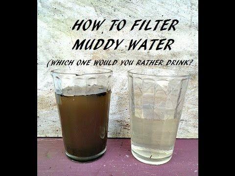 HOW TO FILTER MUDDY water into clear water, clean drinking water, survival tips