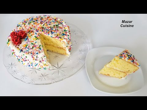 Birthday Cake Recipe Easy Simple Sponge Cake Recipe Birthday Buttercream Recipe کیک سالگره تولد
