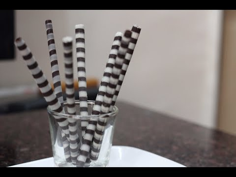 How to make chocolate designs @home - chocolate cigarettes -  part 4