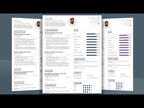 how to make professional college CV / Resume template with Microsoft word 2019