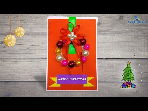 How To Make A Beautiful Christmas Card With A Wreath | DIY Crafts Tutorial | Lina's Craft Club
