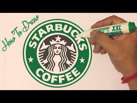 How to draw the Starbucks Logo - Coffee Logo Drawing