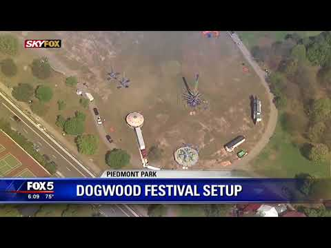 Dogwood Festival being set up