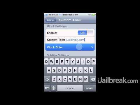 Custom Lock Cydia Tweak: Replace The Lockscreen Clock View Text and Colour
