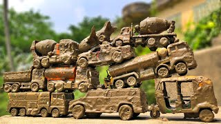 Cleaning Muddy Toy Vehicles, Indian Auto Rickshaw, Police Car, Tank Truck and many more vehicles