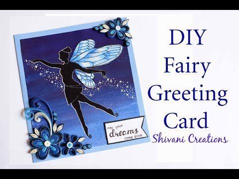 DIY Fairy Card/ 3d Quilled Flowers/ How to draw Fairy