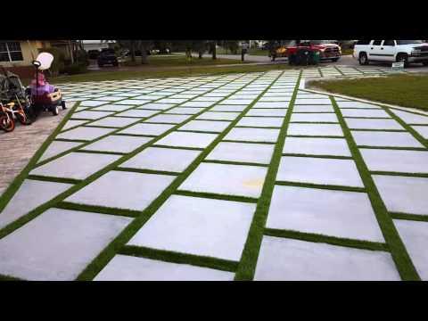 Miami Artificial turf, turf strips, grass between Concrete slab, artificial turf drive way Miami