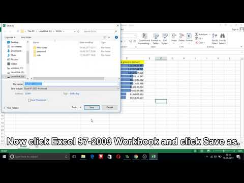How to save excel 2013 file in excel 97 2003 format?