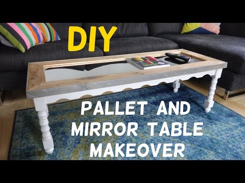 $15 Table Makeover with Pallet Wood & Mirror Top!