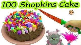 Trolls Poppy & Bridget Bergen Bake Chocolate Cake with 100 Season 7 Shopkins On Top