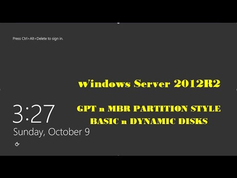 How to configure a GPT and MBR partition Style and Basic and Dynamic Disks in windows server 2012 R2